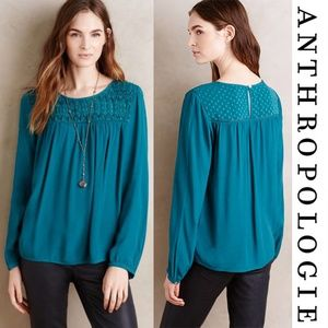 Anthropologie Meadow Rue Laurel Smocked Blouse Sm